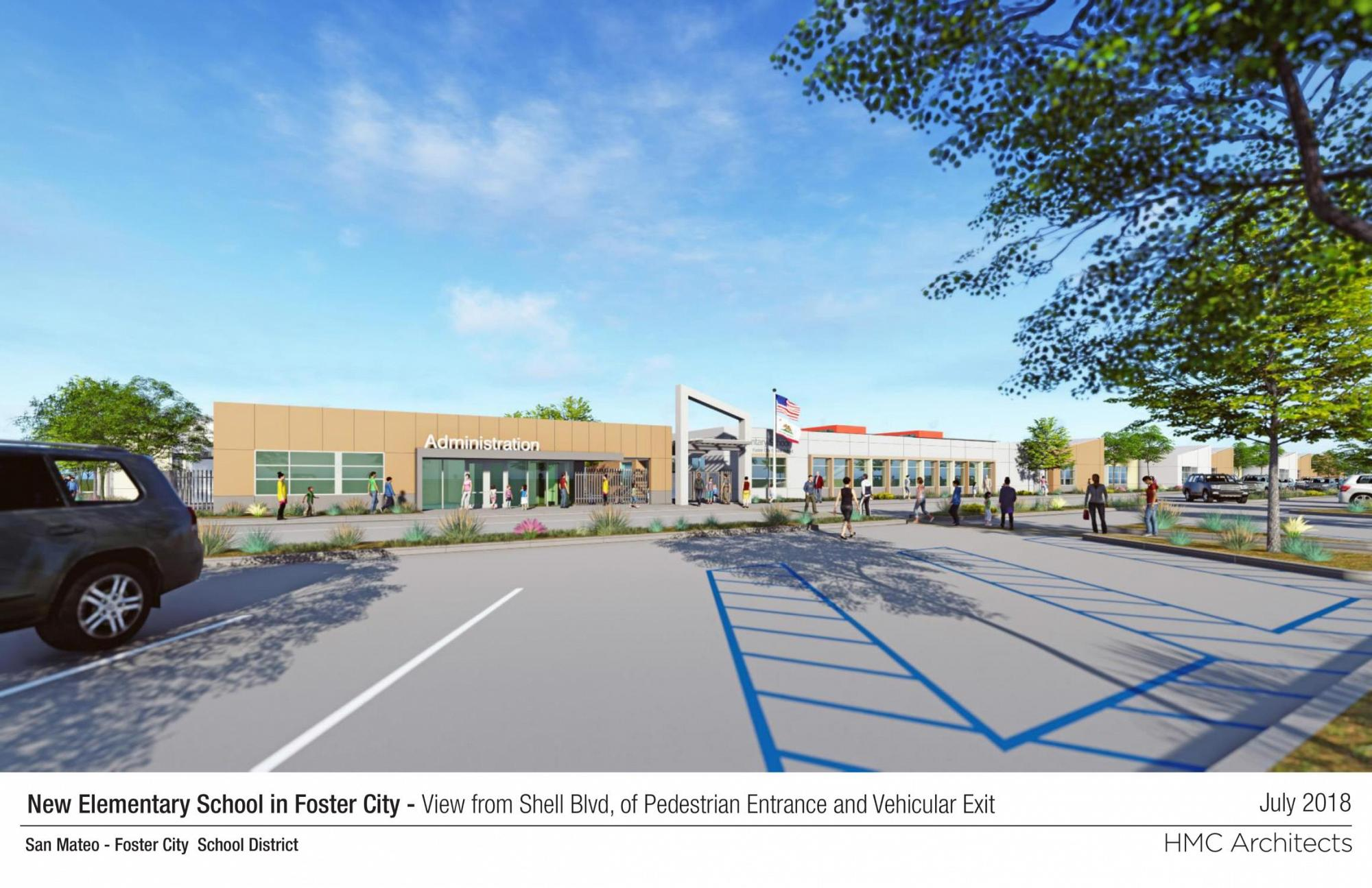 Rendering of New Foster City School