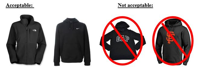 acceptable sweathshirts and non-acceptable sweatshirts