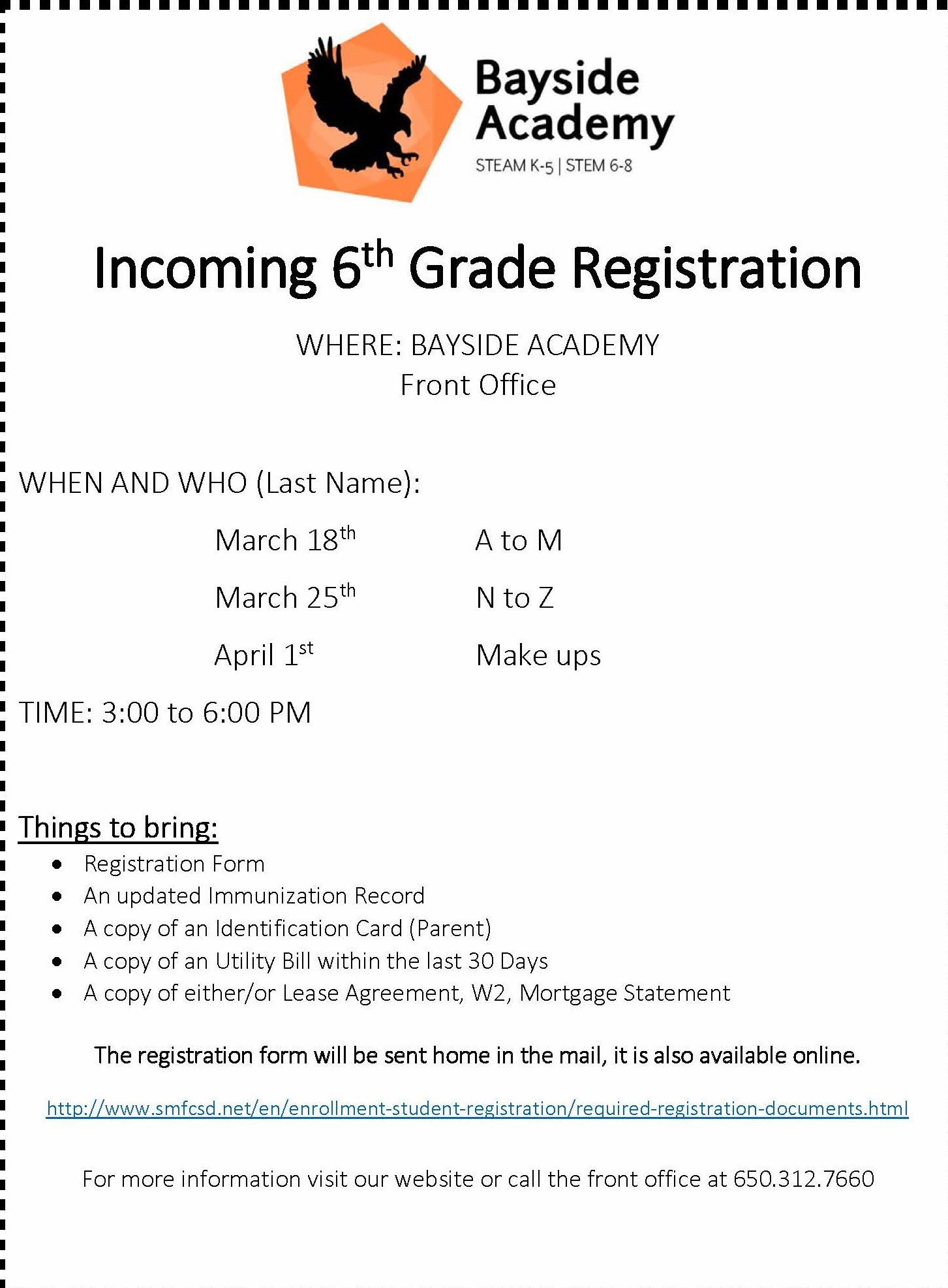 Bayside Academny Info Flyer for 6th Grade Registration