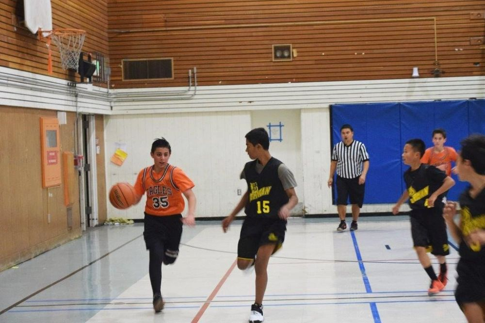 boys playing basketball in a gym