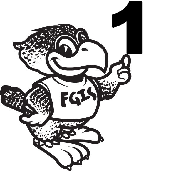 Fiesta Gardens International School Mascot holding number 1