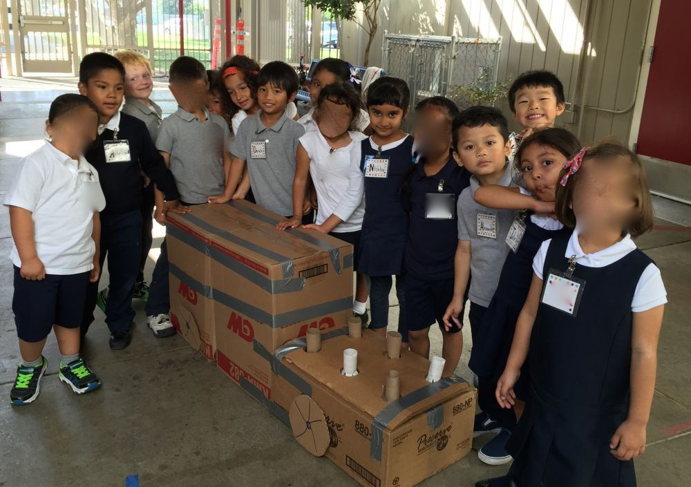 children participating in cardboard challenge