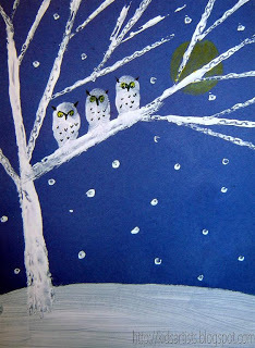 winter owl card sent to friendship school in Japan
