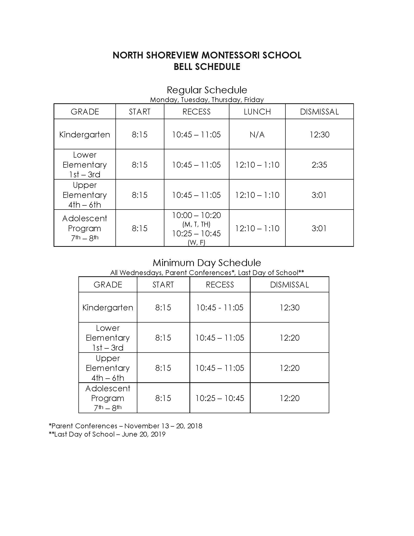 North Shoreview Montessori Bell Schedule 2018-19