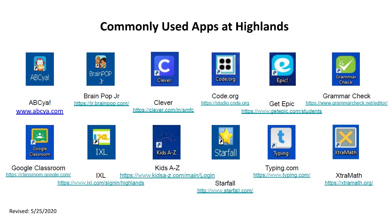 image of commonly used applications at highlands
